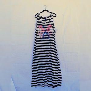 Skull Striped Maxi Dress 4x